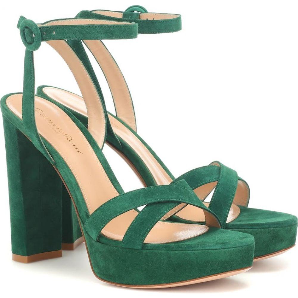 ジャンヴィト ロッシ Gianvito Rossi レディース サンダル・ミュール シューズ・靴【poppy 85 suede plateau sandals】leaf