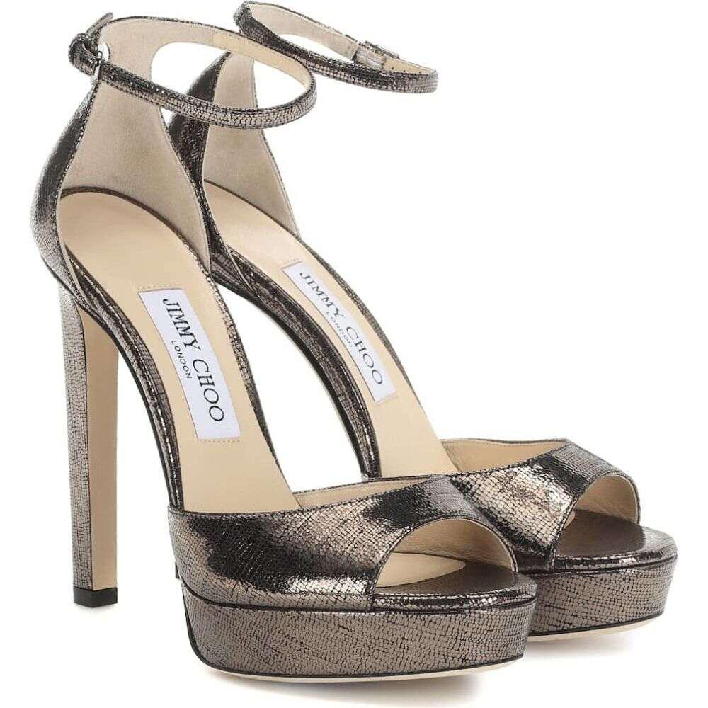 ジミー チュウ Jimmy Choo レディース サンダル・ミュール シューズ・靴【pattie 130 leather plateau sandals】Anthracite