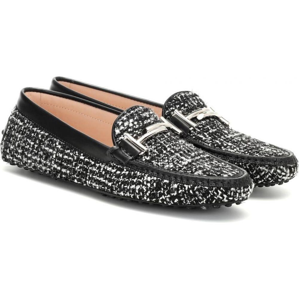 トッズ Tod's レディース ローファー・オックスフォード シューズ・靴【gommino tweed loafers】White/Black