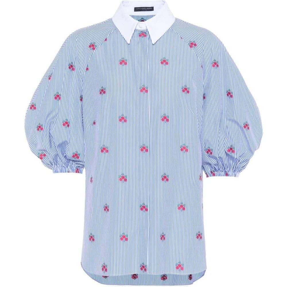 アレキサンダー マックイーン Alexander McQueen レディース ブラウス・シャツ トップス【floral-embroidered cotton blouse】White/Blue
