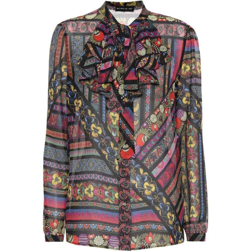 エトロ Etro レディース ブラウス・シャツ トップス【printed silk blouse】Black/Multicolor