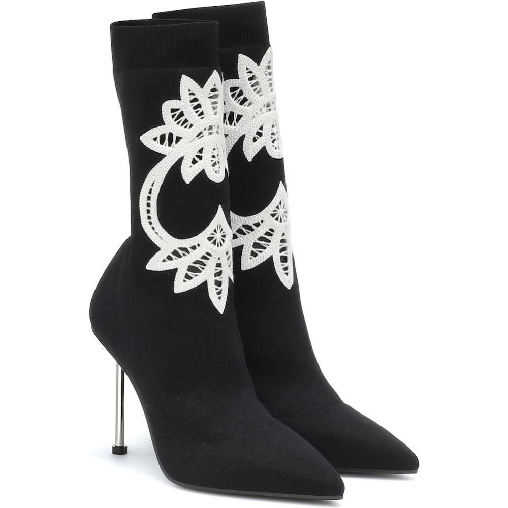 アレキサンダー マックイーン Alexander McQueen レディース ブーツ ショートブーツ シューズ・靴【lace-trimmed knitted ankle boots】Black Ivory Silver