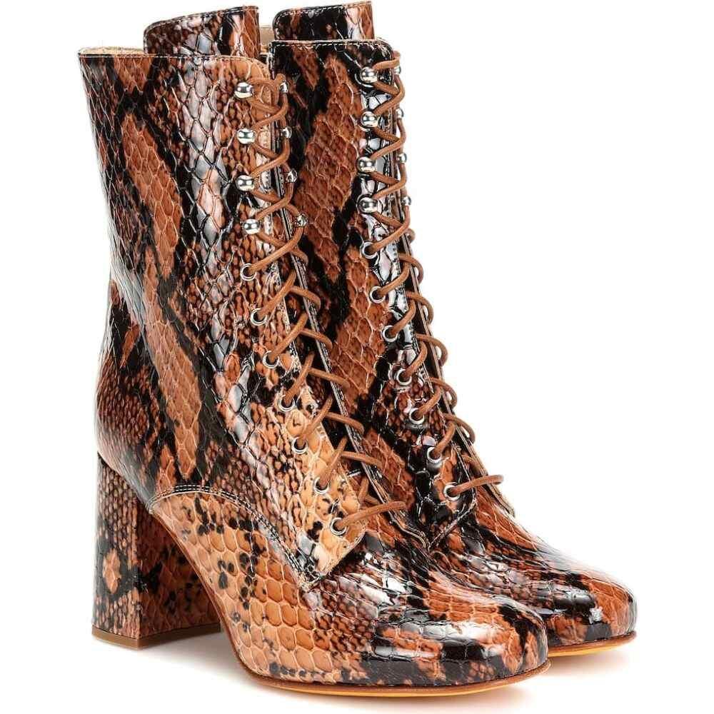 マリアム ナッシアー ザデー Maryam Nassir Zadeh レディース ブーツ ショートブーツ シューズ・靴【emmanuelle snake-effect ankle boots】auburn snake
