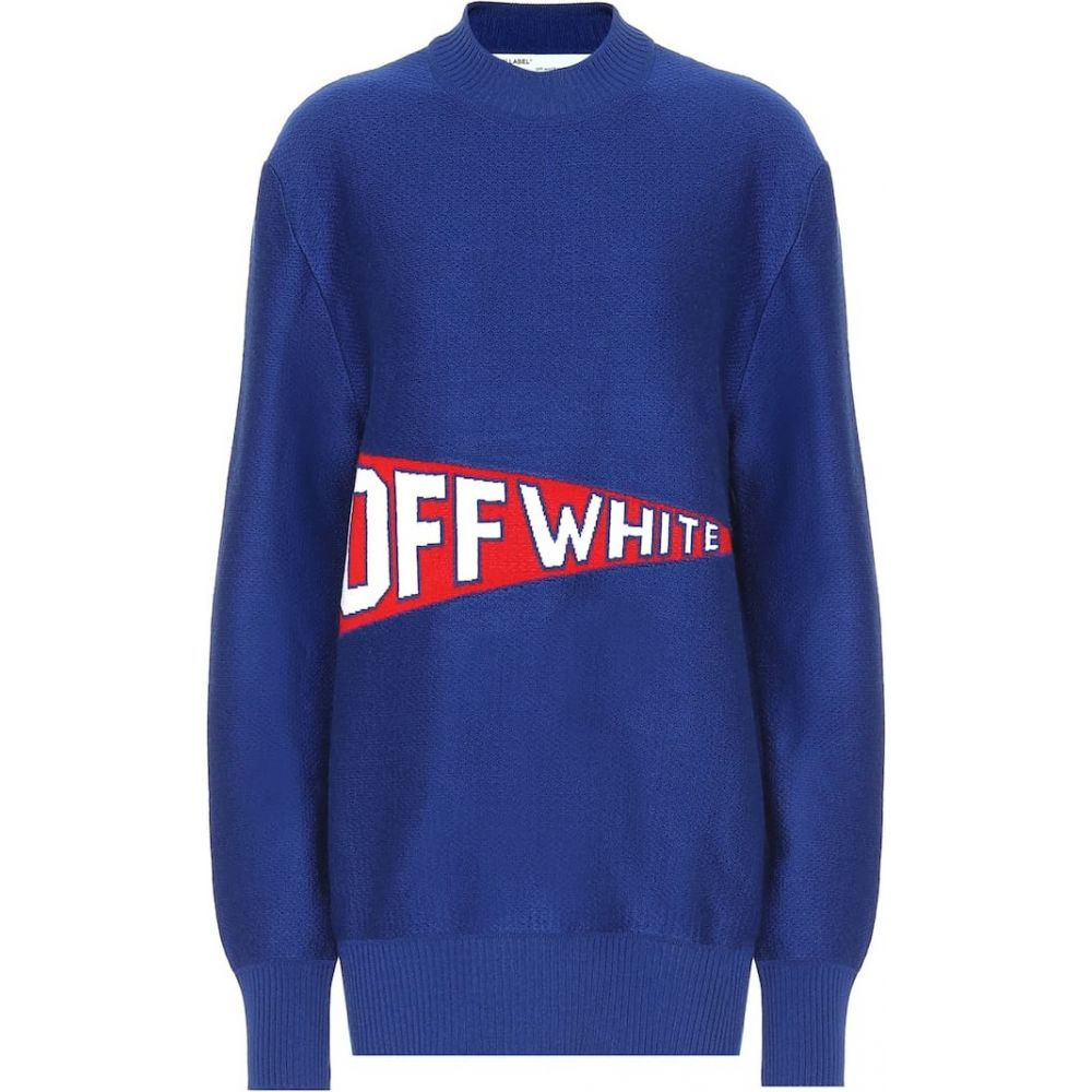 オフホワイト Off-White レディース ニット・セーター トップス【stretch wool blend sweater】Blue Red