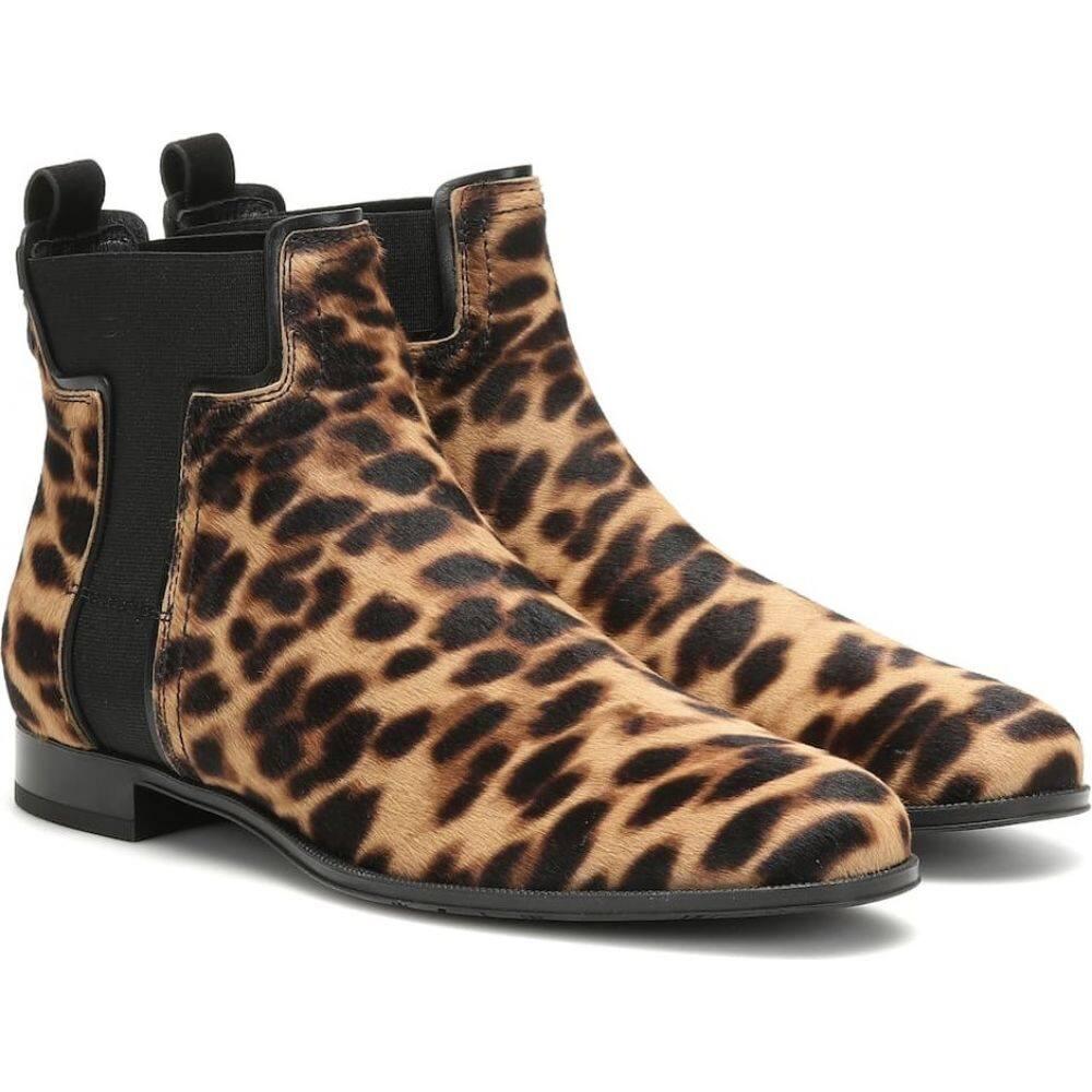 トッズ Tod's レディース ブーツ ショートブーツ シューズ・靴【leopard-print calf hair ankle boots】Tabacco Ner