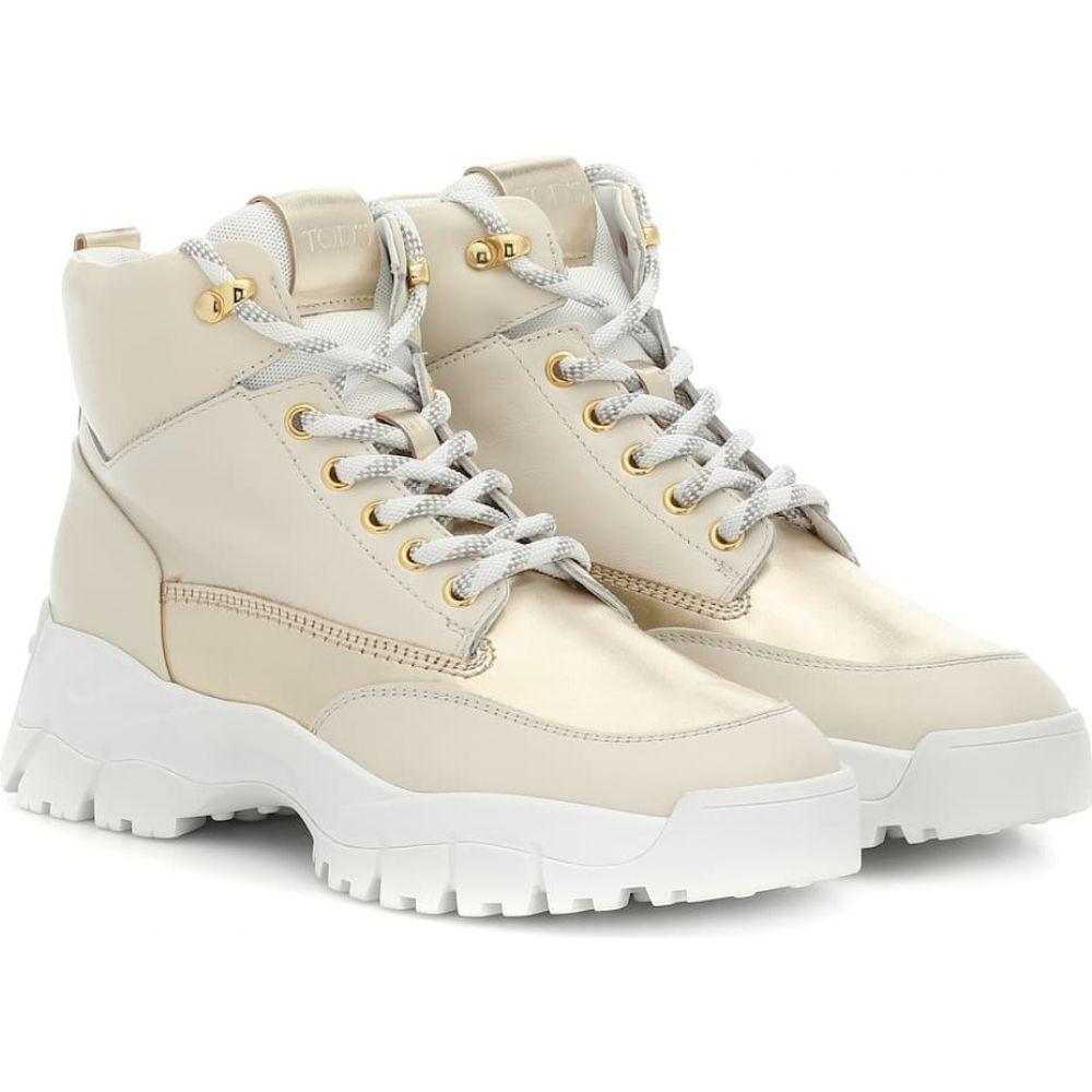 トッズ Tod's レディース ブーツ ショートブーツ シューズ・靴【leather ankle boots】Oro Chiaro/Bianco Calce