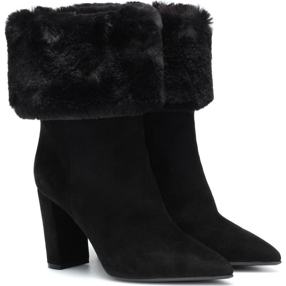 ジャンヴィト ロッシ Gianvito Rossi レディース ブーツ ショートブーツ シューズ・靴【faux fur-trimmed suede ankle boots】Black Black