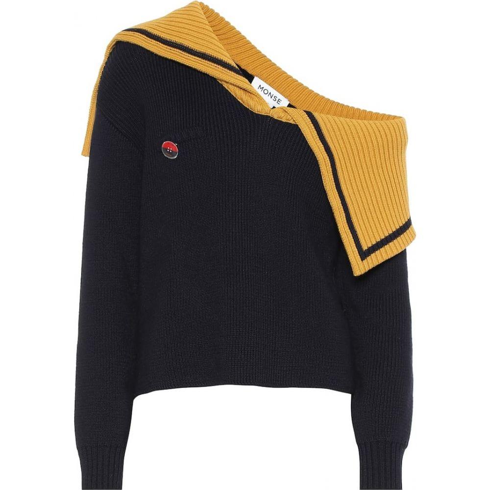 モンス Monse レディース ニット・セーター ワンショルダー トップス【one-shoulder wool sweater】Navy