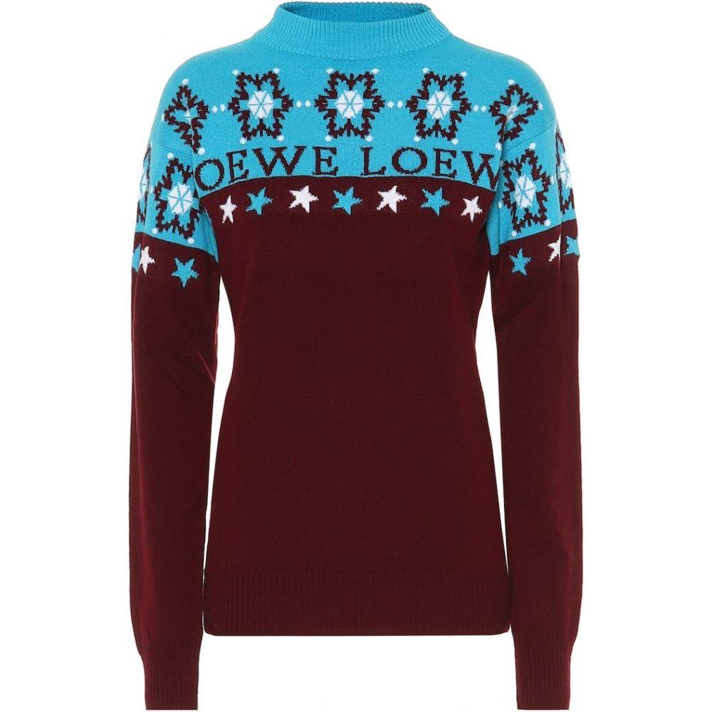 ロエベ Loewe レディース ニット・セーター トップス【snowflake wool sweater】burgundy/blue