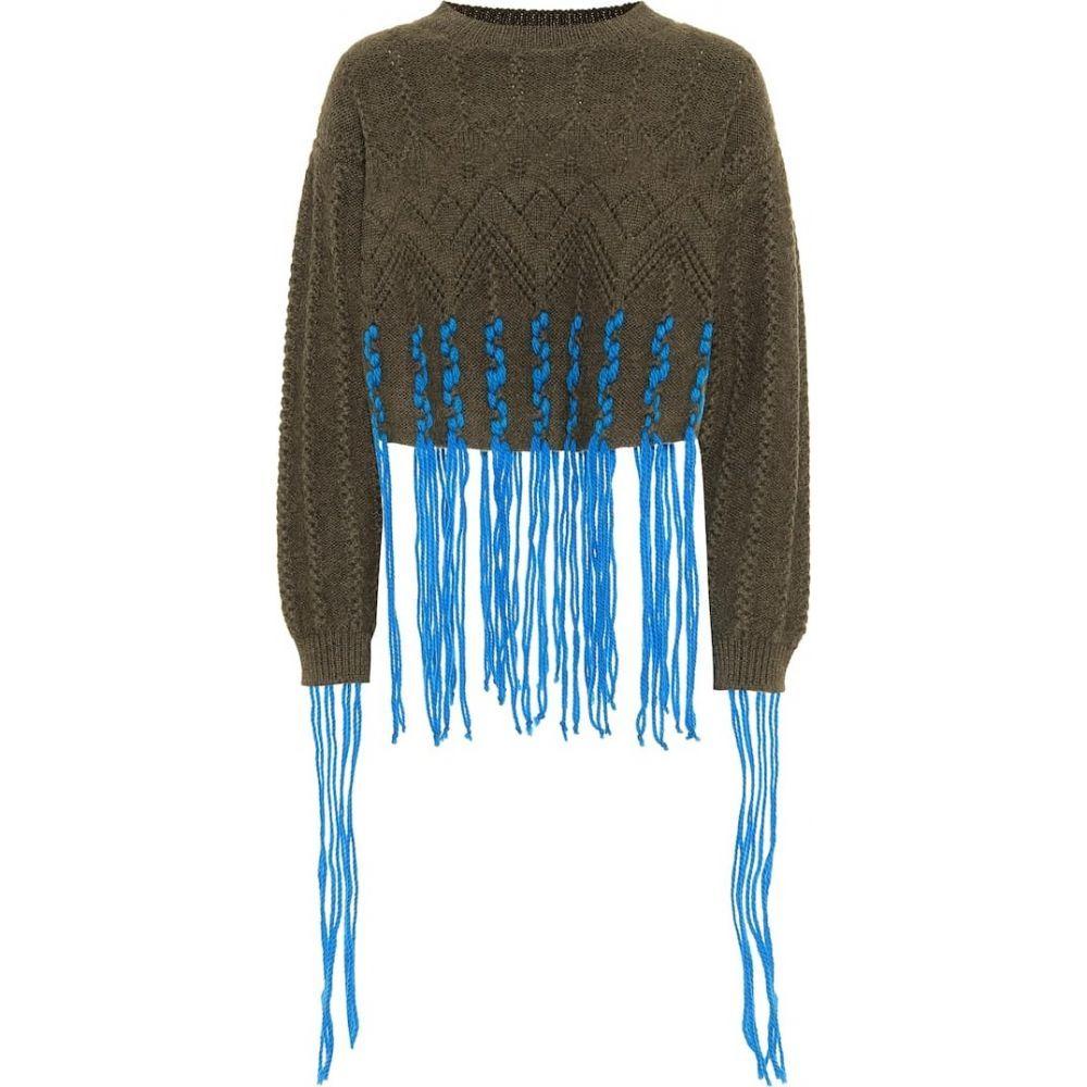 ロエベ Loewe レディース ニット・セーター トップス【wool and alpaca-blend sweater】Khaki Green/Blue