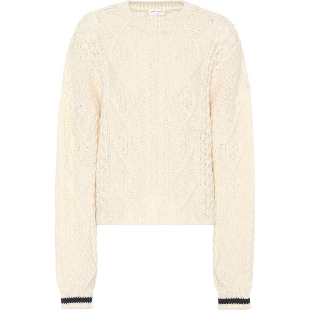 イヴ サンローラン Saint Laurent レディース ニット・セーター トップス【wool cable-knit sweater】White