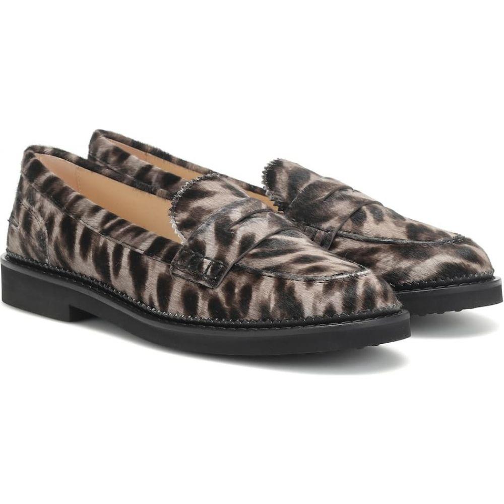 トッズ Tod's レディース ローファー・オックスフォード シューズ・靴【cheetah-print calf hair loafers】Grigio Perla