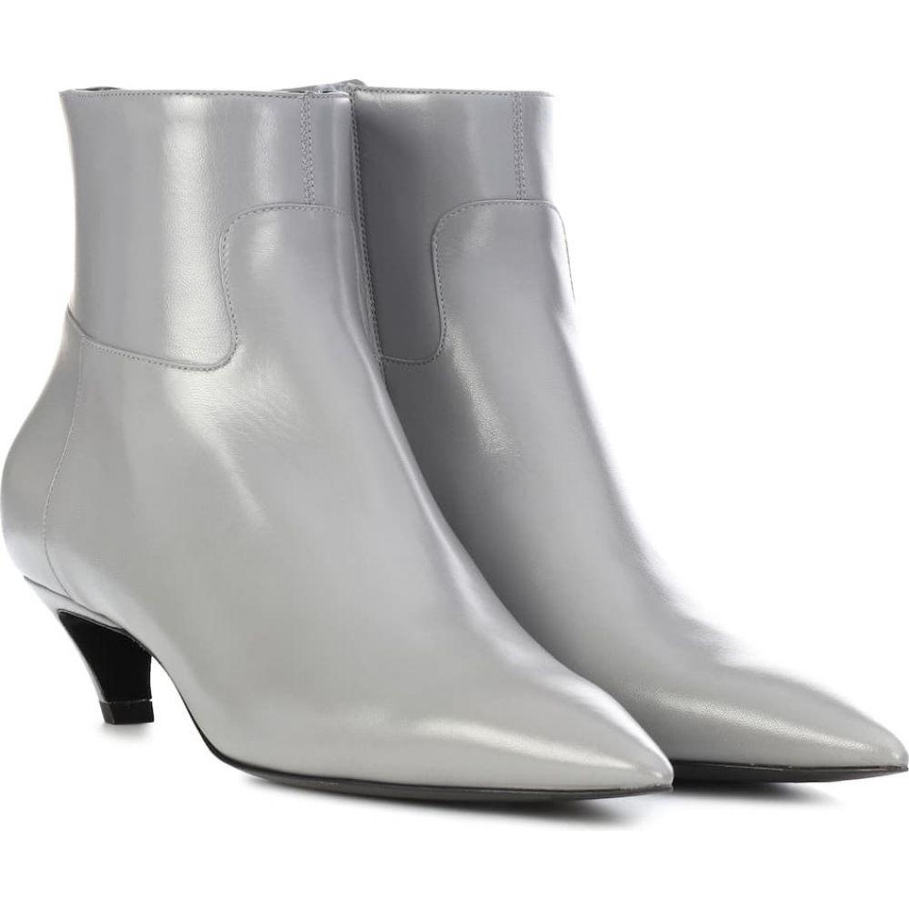 バレンシアガ Balenciaga レディース ブーツ ショートブーツ シューズ 靴 slash heel leather ankle boots Gris Haussmanien 売れ筋商品 子どもの日 法事