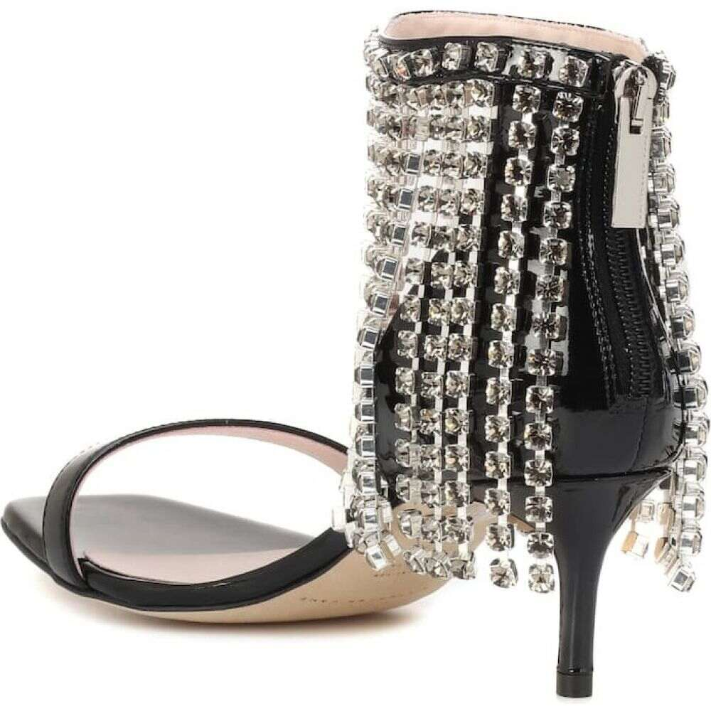 クリストファー ケイン Christopher Kane レディース サンダル・ミュール シューズ・靴 crystal fringe leather sandals Black54RjAcq3L