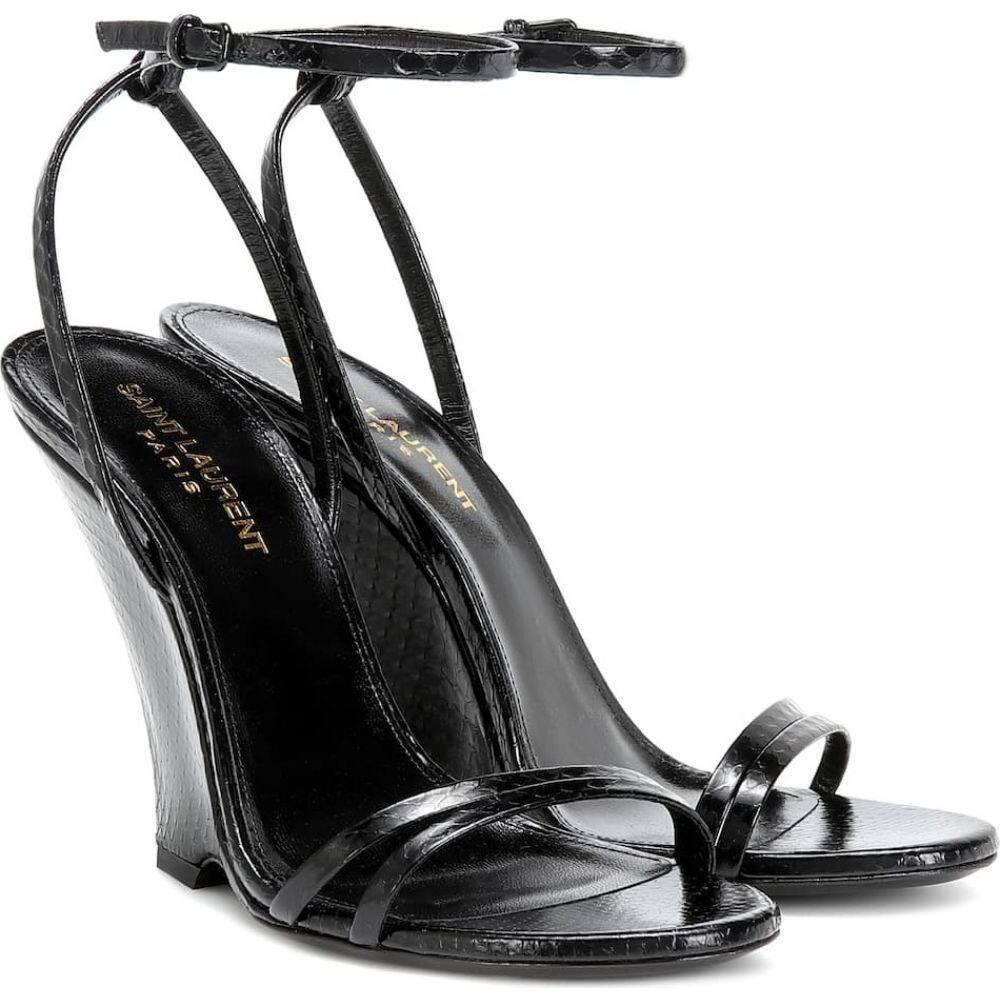 イヴ サンローラン Saint Laurent レディース サンダル・ミュール シューズ・靴【kym snakeskin sandals】Nero