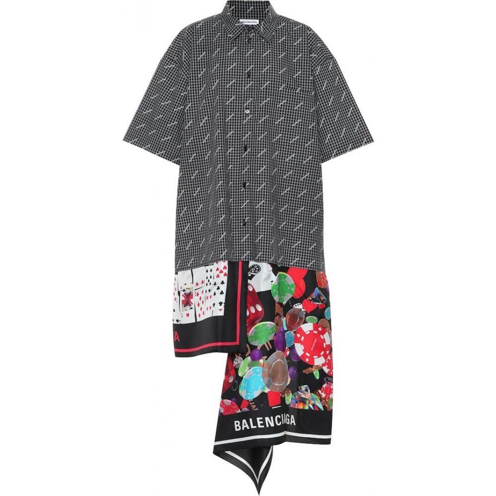 バレンシアガ Balenciaga レディース ワンピース シャツワンピース ワンピース・ドレス【Scarf cotton and silk shirt dress】Black/White