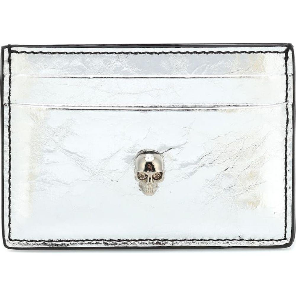 アレキサンダー マックイーン Alexander McQueen レディース カードケース・名刺入れ カードホルダー【Skull metallic leather card holder】Silver