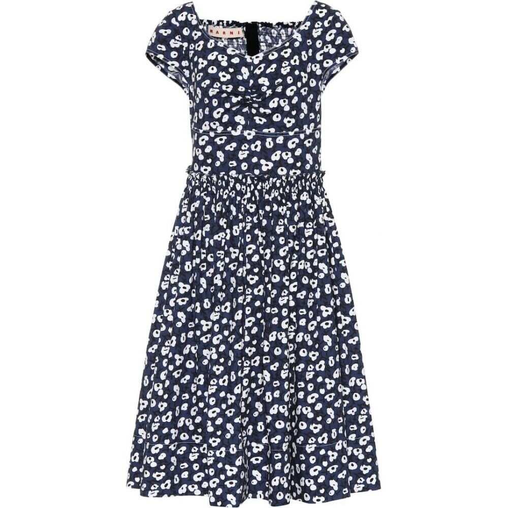 マルニ Marni レディース ワンピース ワンピース・ドレス【Floral-printed cotton dress】Blue