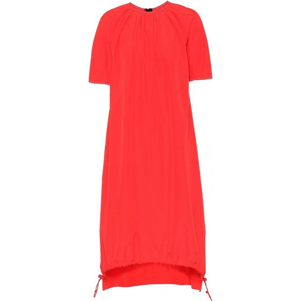 マルニ Marni レディース ワンピース ワンピース・ドレス【Cotton drawstring-hem dress】Red