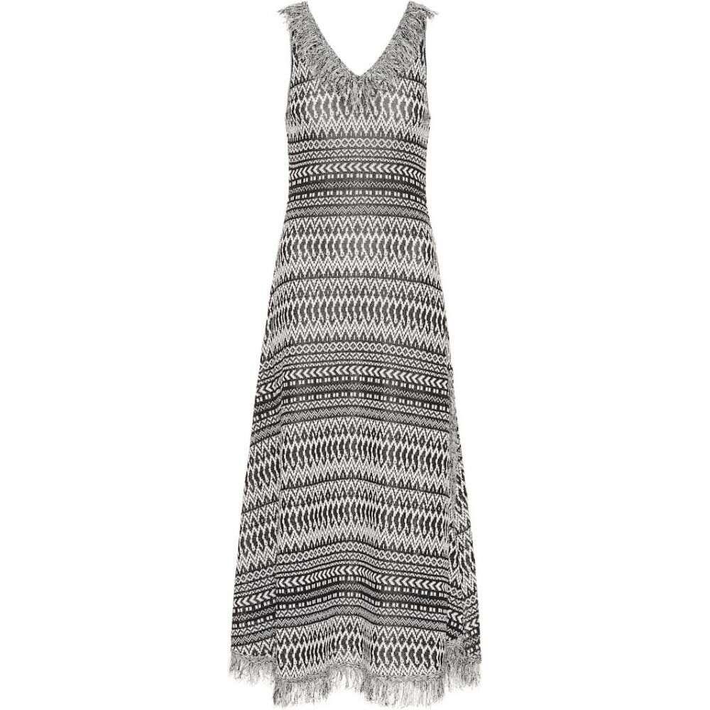 ロエベ Loewe レディース ワンピース ワンピース・ドレス【Striped cotton-blend knit dress】black/white