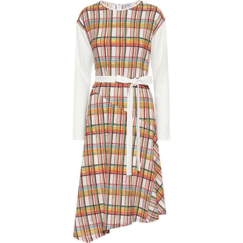 ロエベ Loewe レディース ワンピース ミドル丈 ワンピース・ドレス【Checked wool midi dress】White/Multicolor