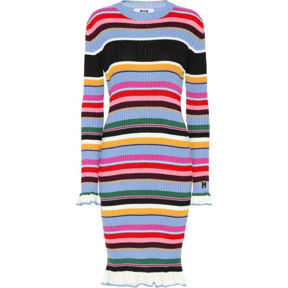 エムエスジーエム MSGM レディース ワンピース ミドル丈 ワンピース・ドレス【Striped wool-blend midi dress】Multi