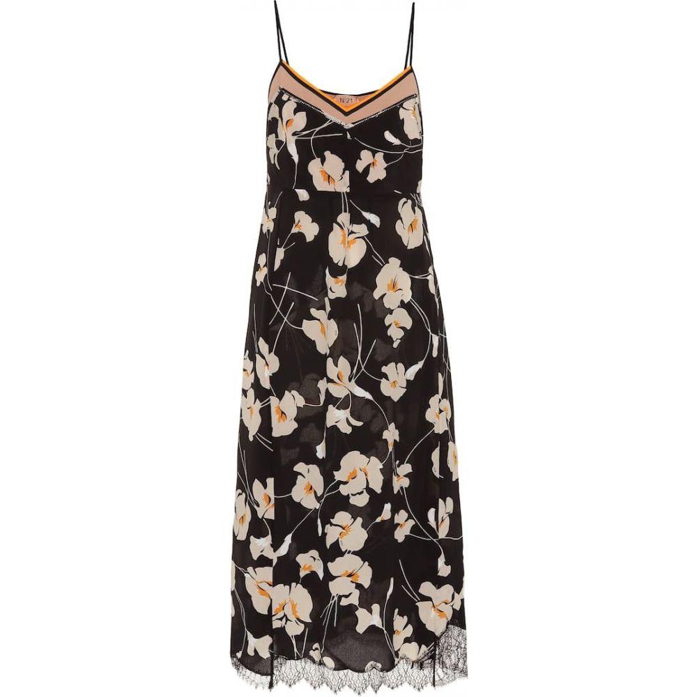 ヌメロ ヴェントゥーノ N21 レディース ワンピース スリップドレス ワンピース・ドレス【Floral silk slip dress】black