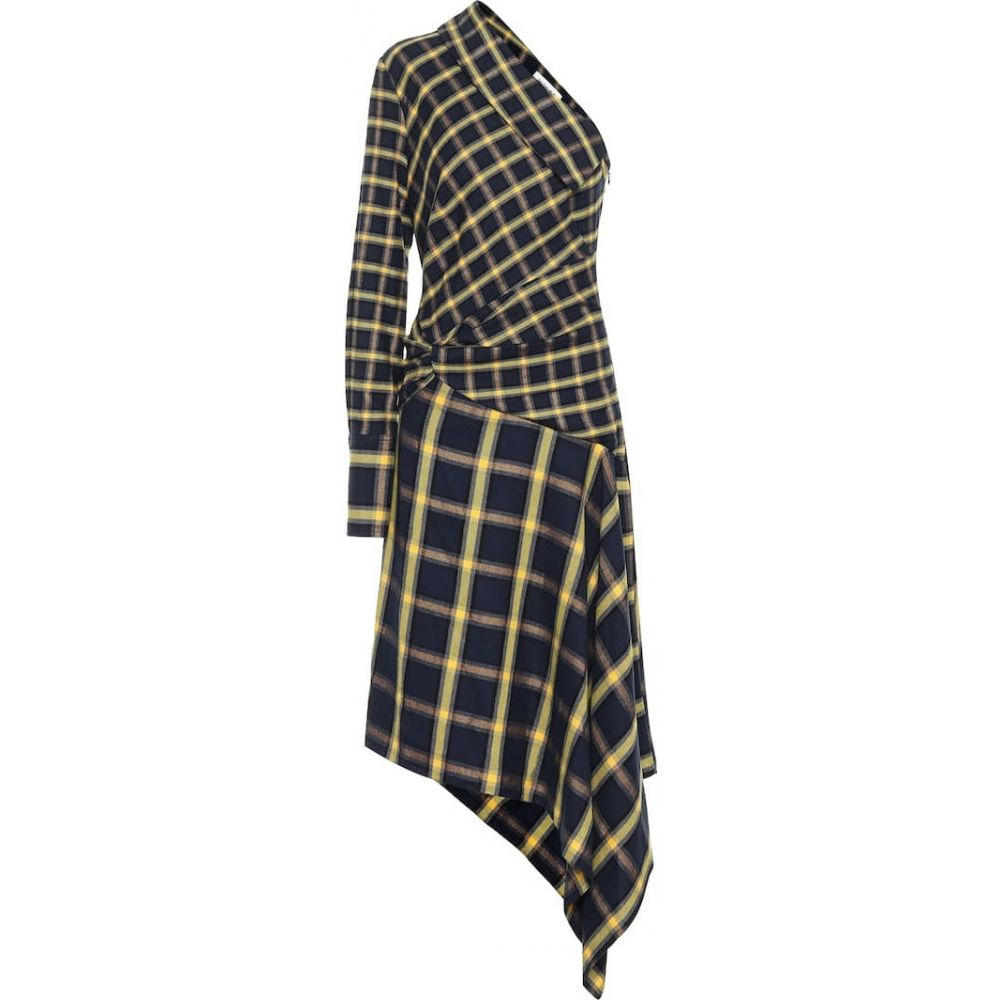 モンス Monse レディース ワンピース ミドル丈 ワンピース・ドレス【Checked cotton midi dress】Midnight/Yellow