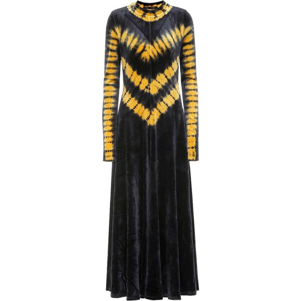 プロエンザ スクーラー Proenza Schouler レディース ワンピース マキシ丈 ワンピース・ドレス【Tie-dye velvet maxi dress】black marigold