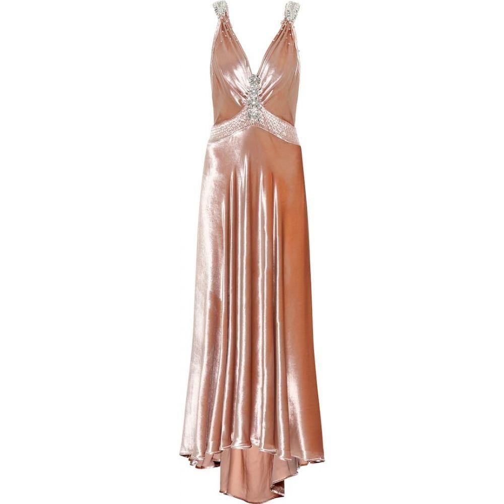 パコラバンヌ Paco Rabanne レディース ワンピース ワンピース・ドレス【Embellished velvet dress】Light Pink