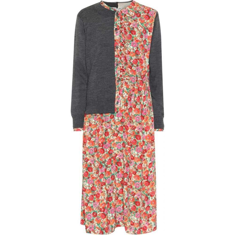 ジュンヤ ワタナベ Junya Watanabe レディース ワンピース ワンピース・ドレス【Layered cardigan and floral dress】Top GryxRd/Pn/Grn