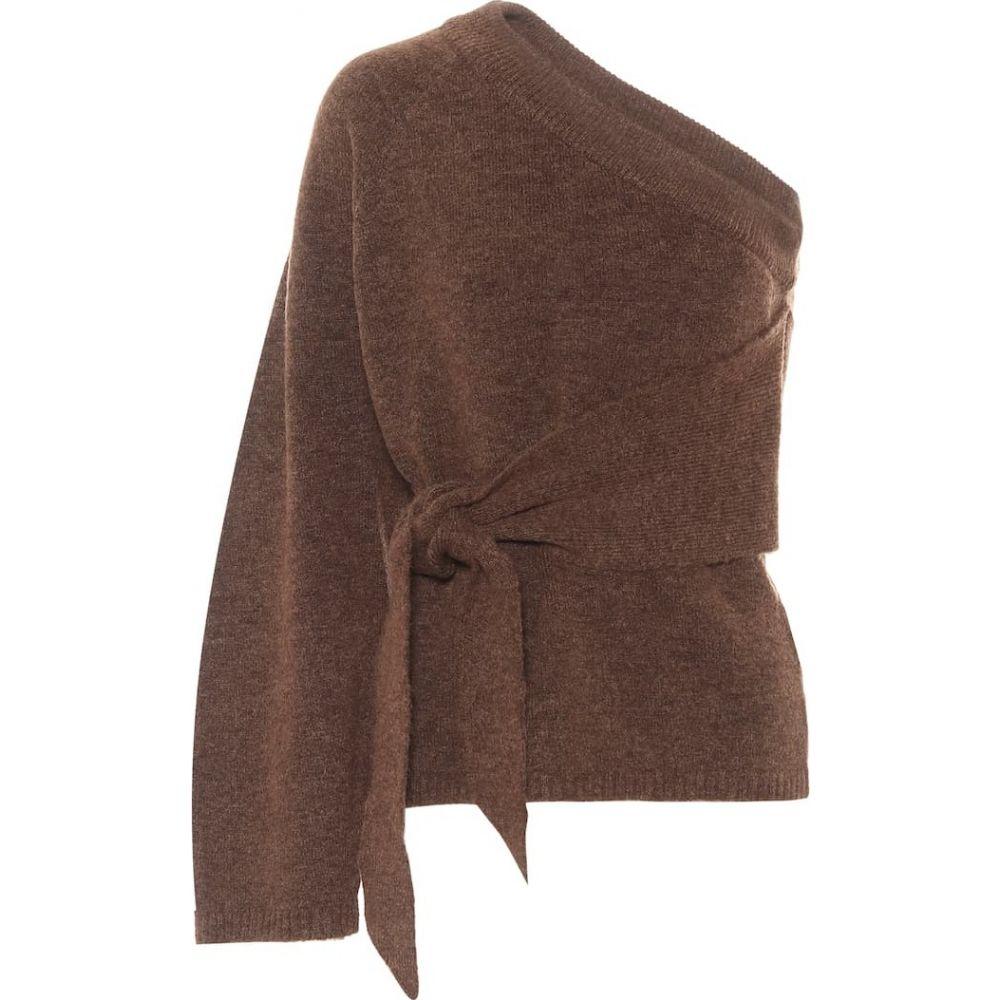 ナヌシュカ Nanushka レディース ニット・セーター ワンショルダー トップス【Cleto belted one-shoulder sweater】Brown