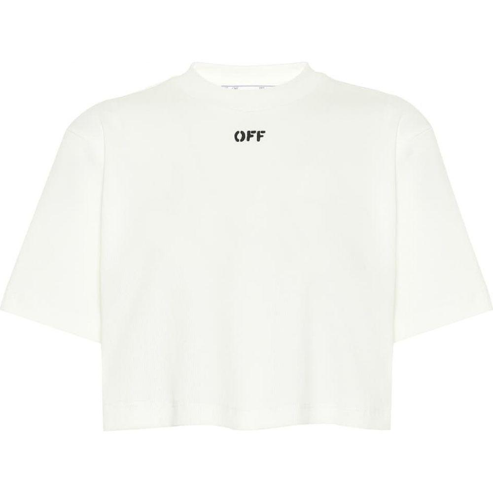 オフホワイト Off-White レディース ベアトップ・チューブトップ・クロップド トップス【Cropped cotton-blend T-shirt】White Black