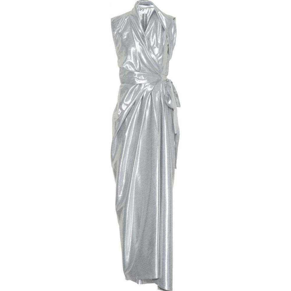 リック オウエンス Rick Owens レディース ワンピース ミドル丈 ワンピース・ドレス【Metallic silk-blend midi dress】Silver