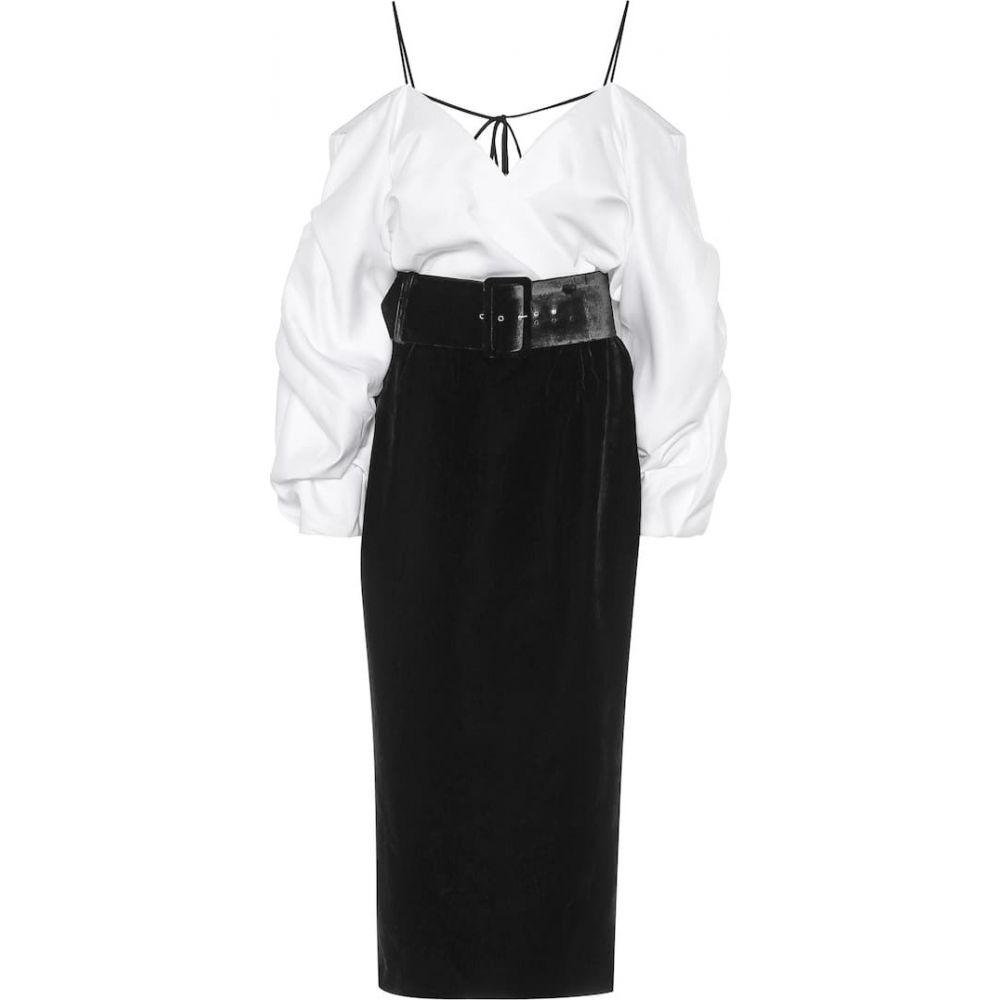 ロサリオ RASARIO レディース ワンピース オフショルダー ミドル丈 ワンピース・ドレス【Cold-shoulder velvet midi dress】Black/White