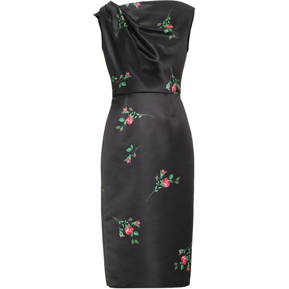 ロシャス Rochas レディース ワンピース ミドル丈 ワンピース・ドレス【Floral satin midi dress】Black