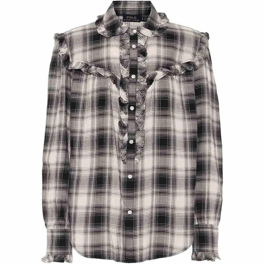 ラルフ ローレン Polo Ralph Lauren レディース ブラウス・シャツ トップス【Checked cotton-blend shirt】Black/Light Cream