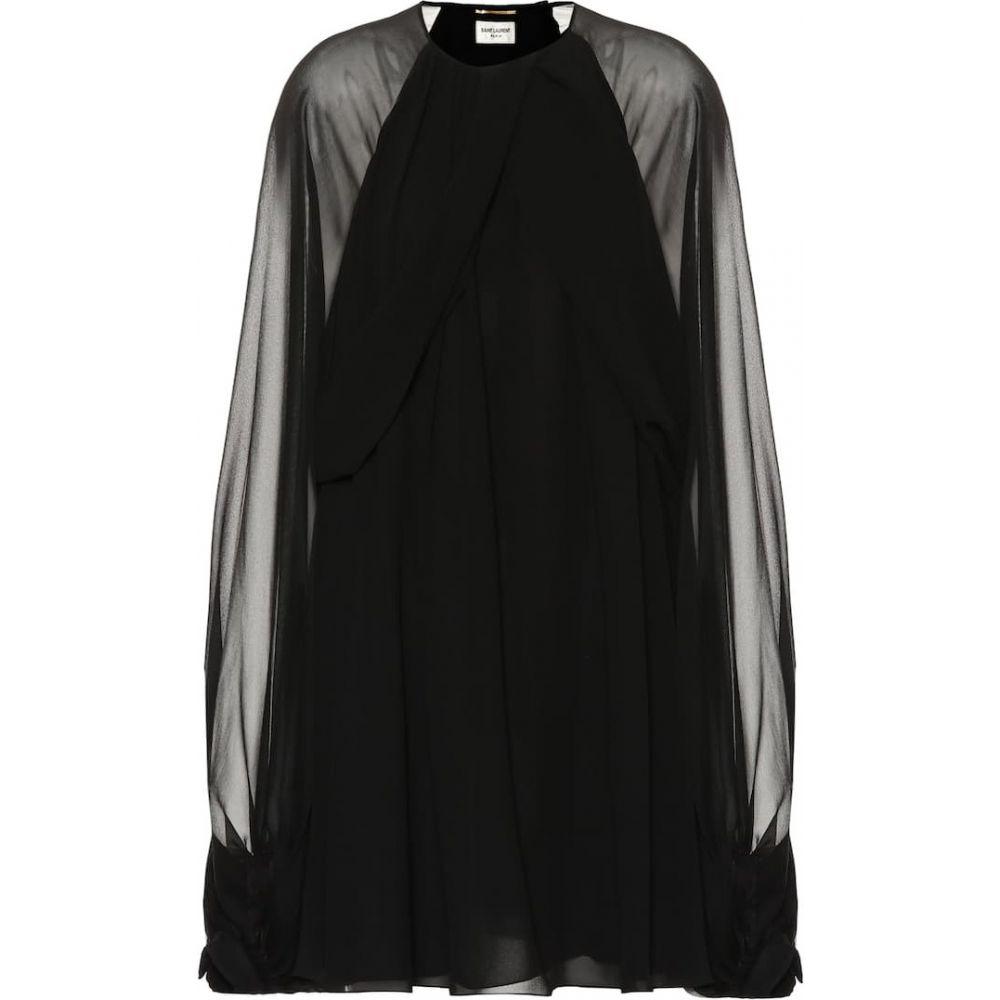 イヴ サンローラン Saint Laurent レディース ワンピース ワンピース・ドレス【Silk minidress】Noir