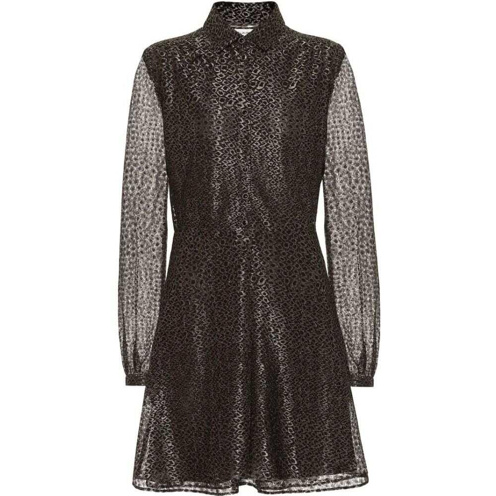 イヴ サンローラン Saint Laurent レディース ワンピース ワンピース・ドレス【Metallic fil coupe dress】Noir Or
