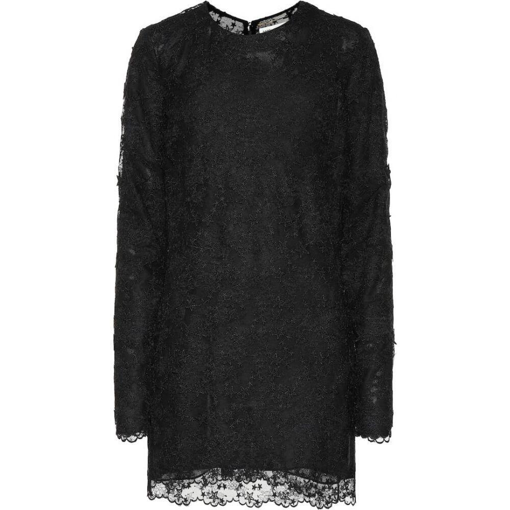 イヴ サンローラン Saint Laurent レディース ワンピース ワンピース・ドレス【Lace minidress】Noir