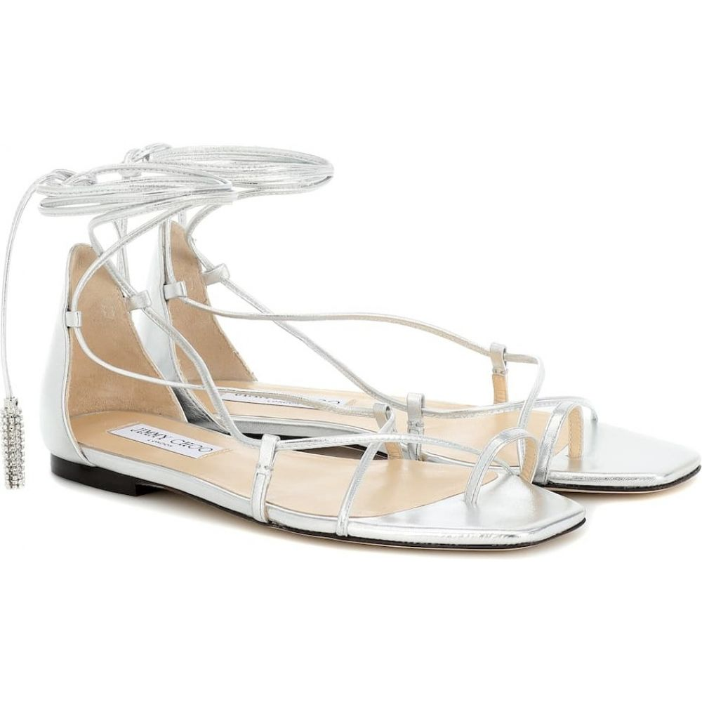 ジミー チュウ Jimmy Choo レディース サンダル・ミュール シューズ・靴【Dusti embellished leather sandals】Silver/Crystal