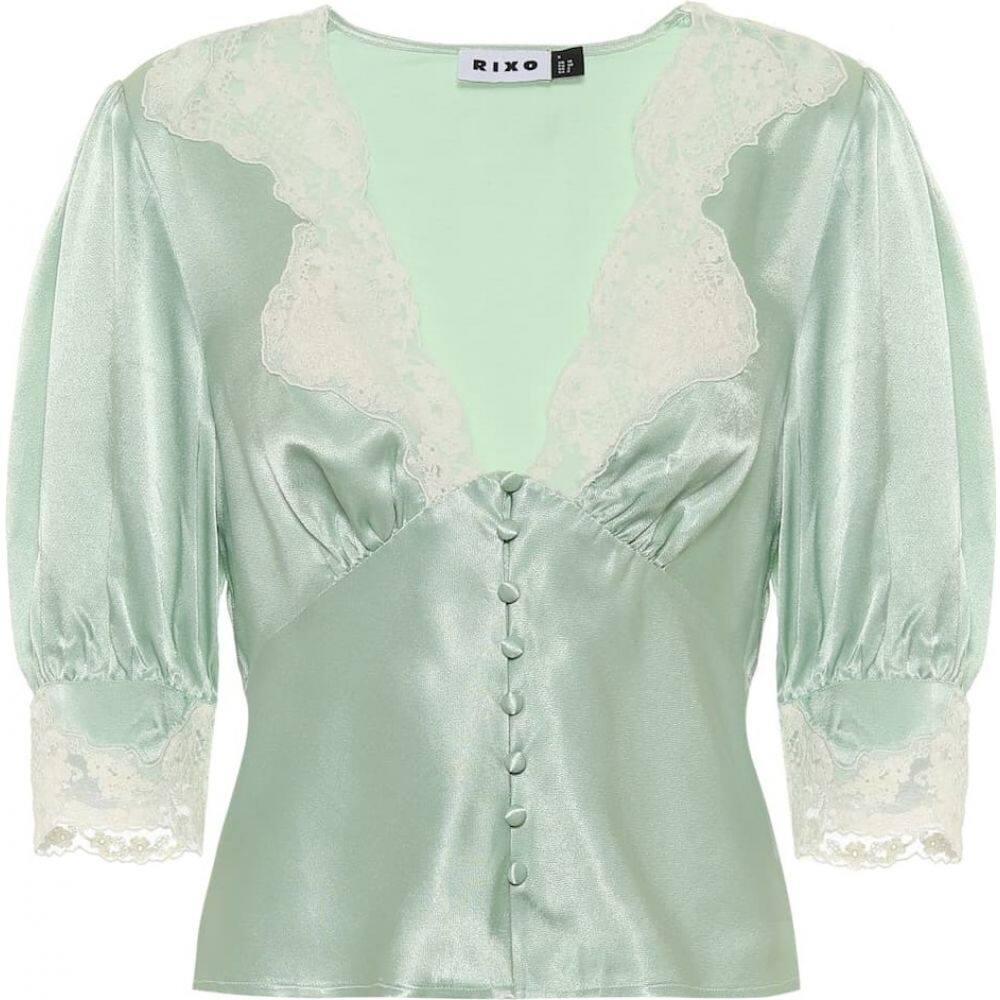 リキソ Rixo レディース ブラウス・シャツ トップス【Amanda lace-trimmed satin blouse】Mint Green
