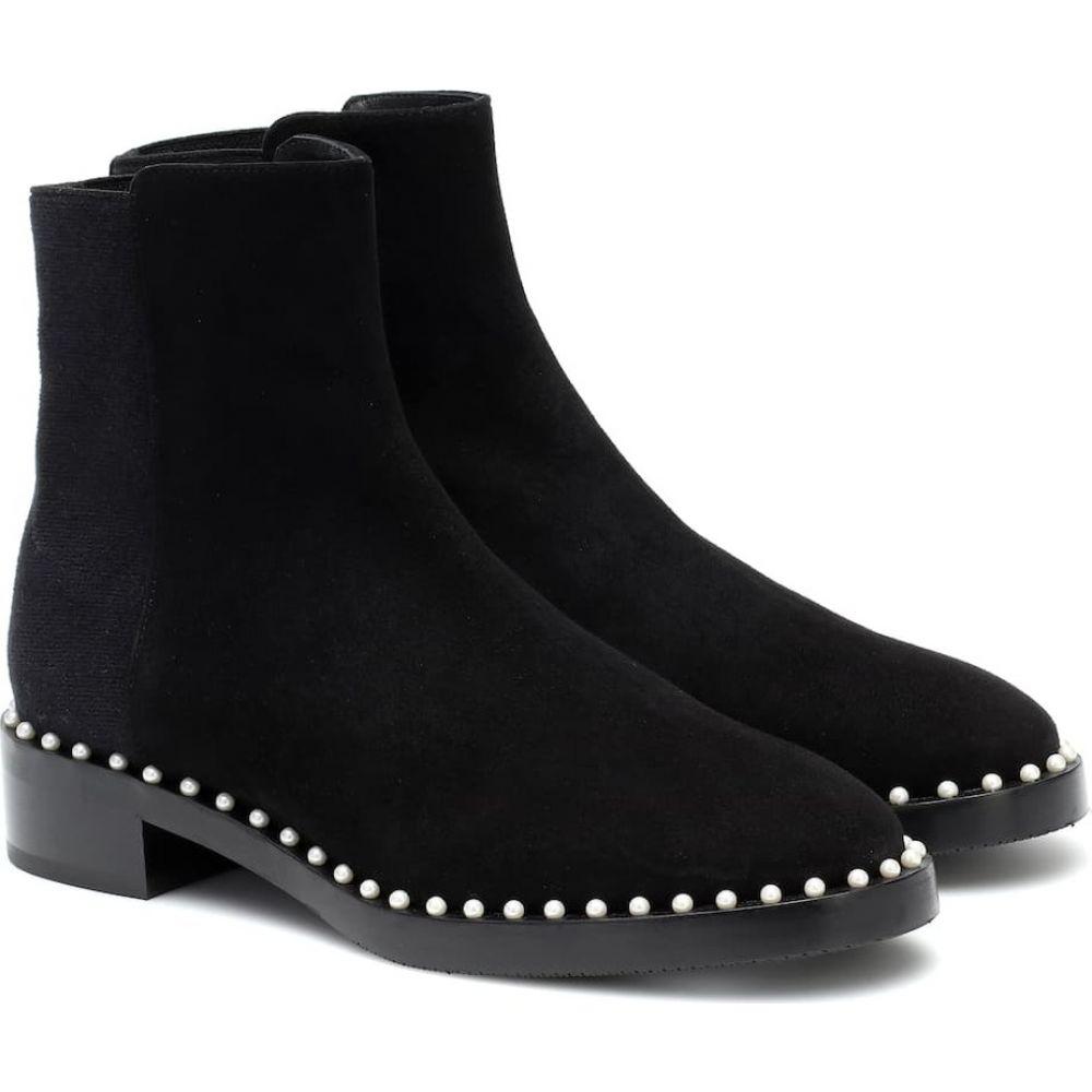 スチュアート ワイツマン Stuart Weitzman レディース ブーツ ショートブーツ シューズ・靴【Easyon Pearl suede ankle boots】Black