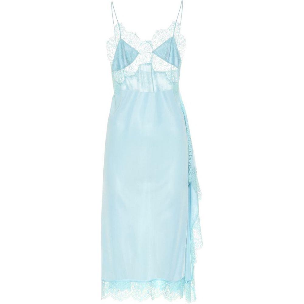 ステラ マッカートニー Stella McCartney レディース ワンピース ワンピース・ドレス【Lace-trimmed satin dress】LIGHT TURQUOISE