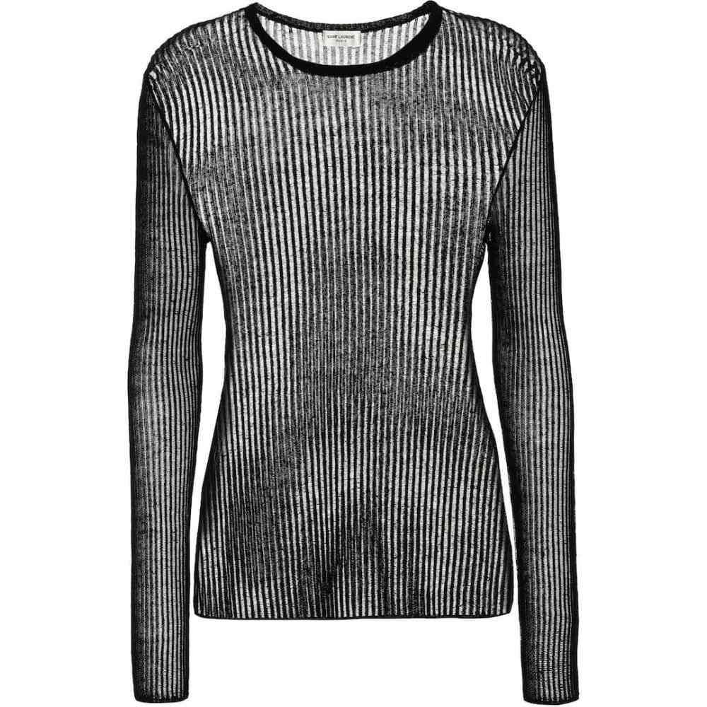 イヴ サンローラン Saint Laurent レディース ニット・セーター トップス【Ribbed linen and silk top】Noir