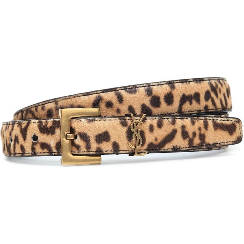 イヴ サンローラン Saint Laurent レディース ベルト 【Monogram leopard-print calf-hair belt】Naturel/Marron
