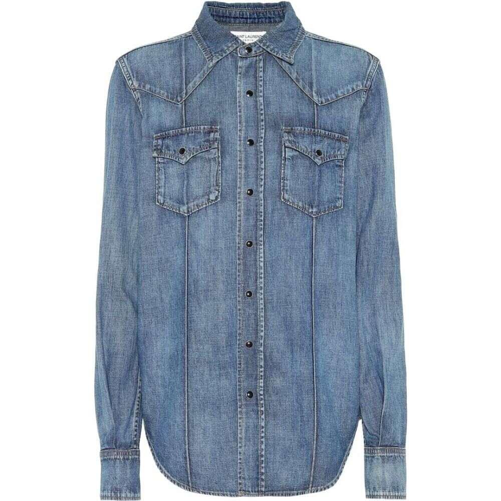 イヴ サンローラン Saint Laurent レディース ブラウス・シャツ デニム トップス【Denim shirt】Blue