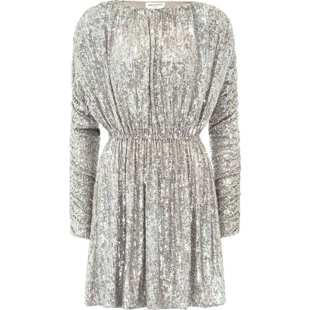 イヴ サンローラン Saint Laurent レディース パーティードレス ワンピース・ドレス【Sequined minidress】Silver
