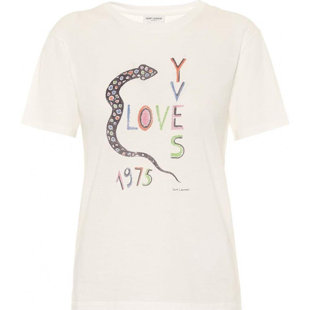 イヴ サンローラン Saint Laurent レディース Tシャツ トップス【Love Yves 1975 cotton-jersey T-shirt】White