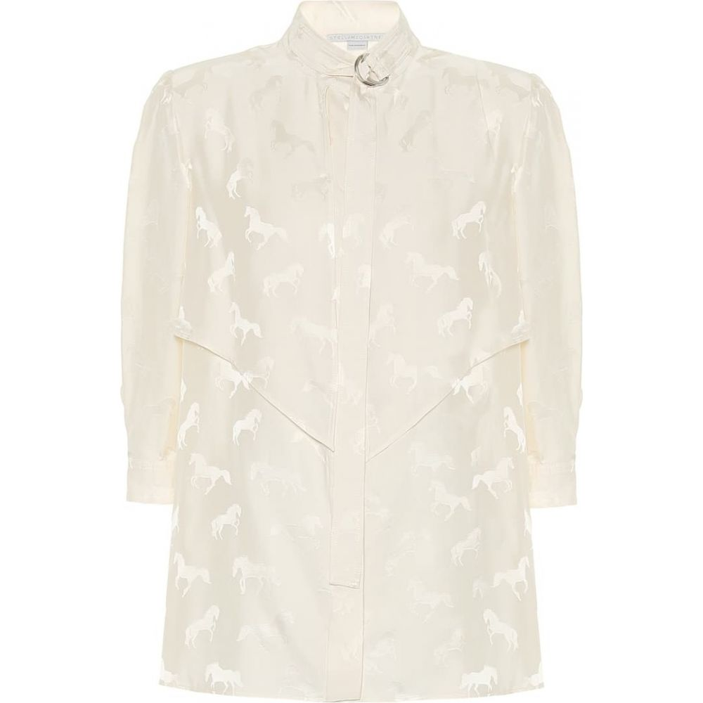 ステラ マッカートニー Stella McCartney レディース ブラウス・シャツ トップス【Horse-jacquard silk-blend blouse】Natural